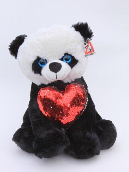 Panda sitzend mit Herz aus Pailletten