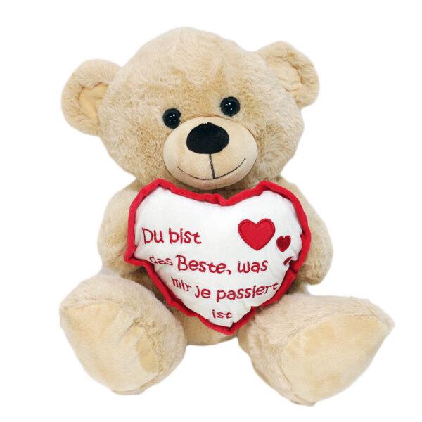 """Teddy mit Herz """"Du bist das Beste was mir je passiert ist"""" -  30 cm"""