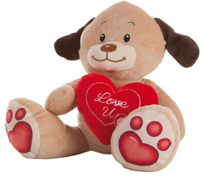 """Hund mit Herz """"Love U"""" Plüschtier - ca. 24 cm"""