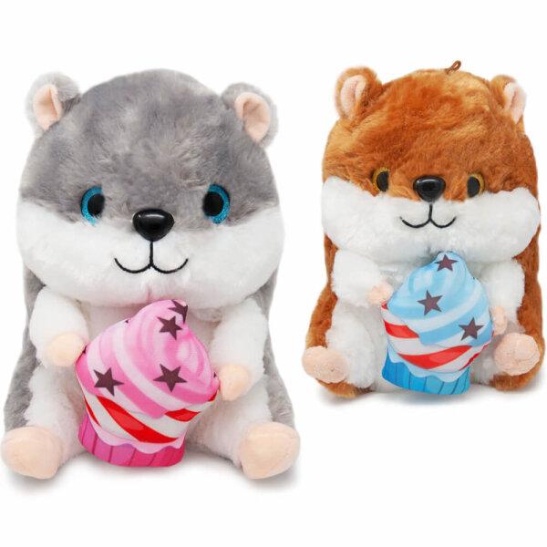 Hamster Kuscheltier mit Cupcake - ca. 25 cm