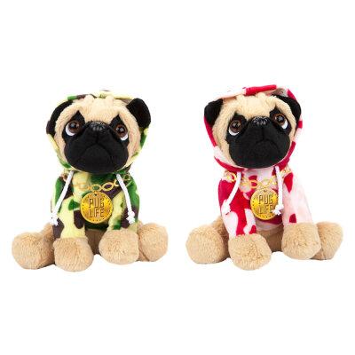 Stofftier Mops mit Camouflage Hoodie und Kapuze - ca. 20 cm
