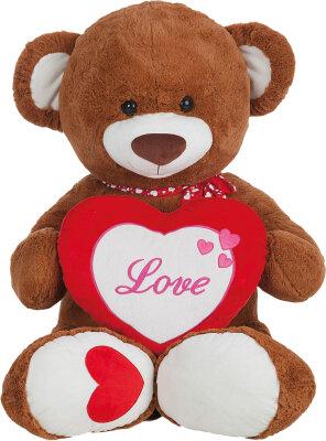 """Teddy mit Herz """"Love"""" und gepunktetem Halstuch..."""