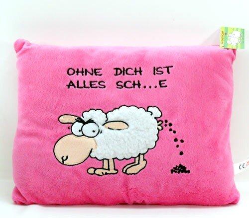 """Kissen """"Jan"""" mit Spruch """"ohne dich ist alles Sch...e"""", rosa, Plüsch, 30 cm"""